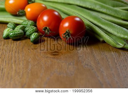 Cucamelons, Orange And Red Tomatoes And Runner Beans