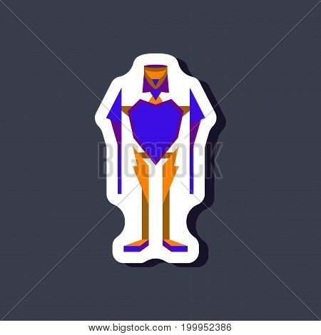 paper sticker on stylish background Toy robot