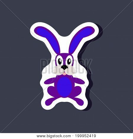 paper sticker on stylish background Toy hare