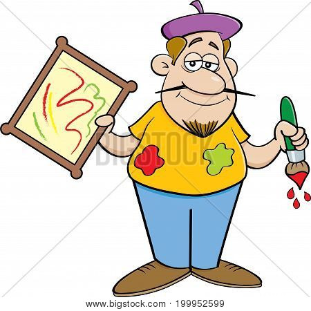 Cartoon illustration of an artist holding a painting.