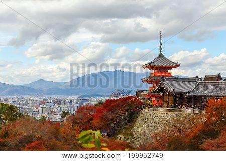 Landscape and cityscape of famous temple in Autumn season a major tourist attraction in Kansai region Kiyomizu-dera Temple in Kyoto Japan. Popular people and photographer.
