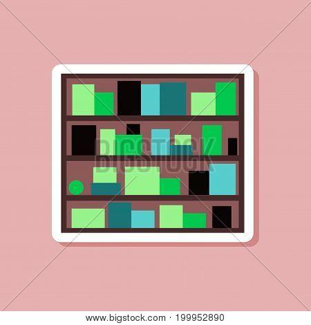 paper sticker on stylish background Bookshelf furniture