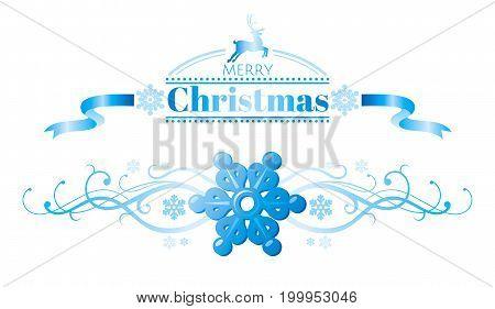 Merry Christmas holiday horizontal banner isolated on white background. Vector illustration. Snowflake logo, ribbon swirls, snowflake, cartoon reindeer logo decoration icon