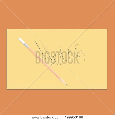 Beige pencil on yellow paper. Background with stationery
