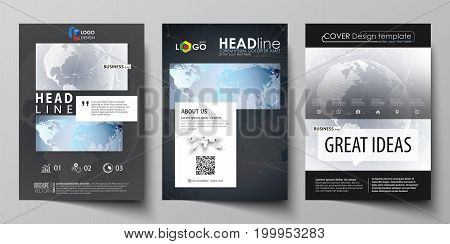 The black colored vector illustration of the editable layout of A4 format covers design templates for brochure, magazine, flyer, booklet. Technology concept. Molecule structure, connecting background