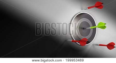 3D illustration of modern dartboard and one green dart hitting the center. Three red darts fail to reach the objective