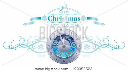 Merry Christmas Happy New year holiday border banner isolated white background. Silver clock midnight dial. Abstract vector illustration. Snowflake, ribbon swirl, cartoon reindeer logo decoration icon