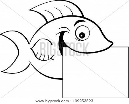 Black and white illustration of a fish holding a sign.