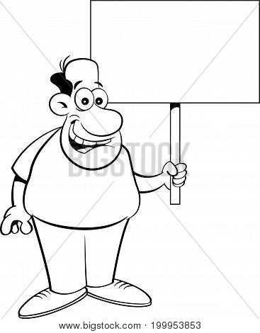 Black and white illustration of a man holding a sign.