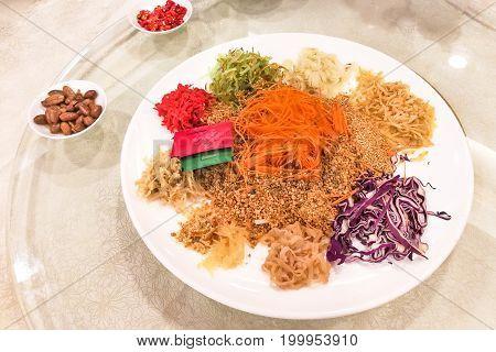 Yee Sang Raw Salmon Fish, Malaysia Chinese New Year Delicacy