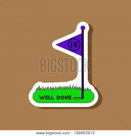 paper sticker on stylish background Golf course