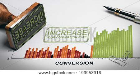 Paper sheet with conversion rates statistics rubber stamp and slogan with the text increase your conversion rate. 3D illustration.