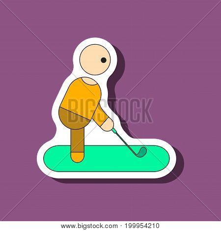 paper sticker on stylish background Stick figure golf