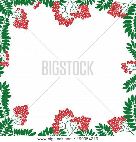 Frame with floral ornament in the Slavic national style rowan berries for used for wallpaper; printing on the packaging paper; textiles.