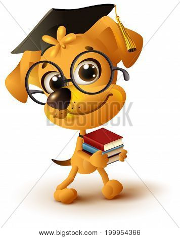 Yellow dog teacher holds stack of books. Isolated on white fun 3d vector cartoon illustration