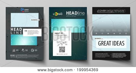 The black colored vector illustration of the editable layout of A4 format covers design templates for brochure, magazine, flyer, booklet. Futuristic high tech background, dig data technology concept
