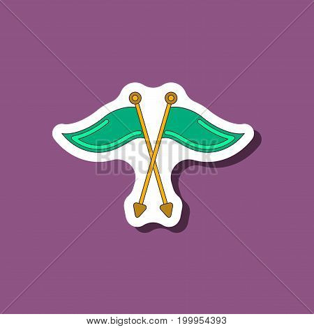 paper sticker on stylish background Golf flags
