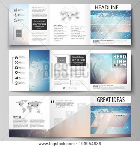 The minimalistic vector illustration of the editable layout. Three creative covers design templates for square brochure or flyer. Polygonal geometric linear texture. Global network, dig data concept