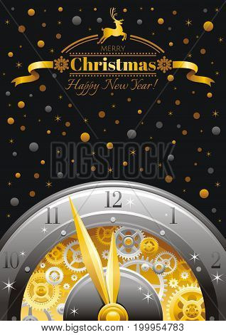 Merry Christmas and New year frame. Greeting card design with clockwork, cogwheel, minute, hour hand, vintage clock element on black background. Gold silver Xmas icon, text lettering, golden stars sky