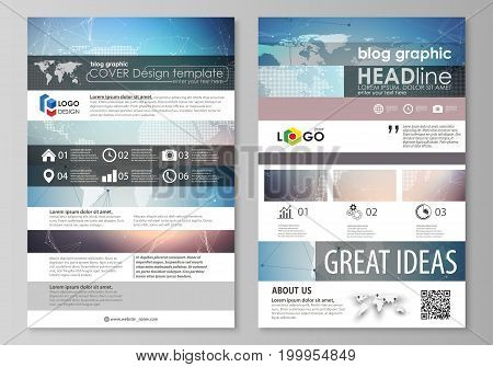 The abstract minimalistic vector illustration of the editable layout of two modern blog graphic pages mockup design templates. Polygonal geometric linear texture. Global network, dig data concept