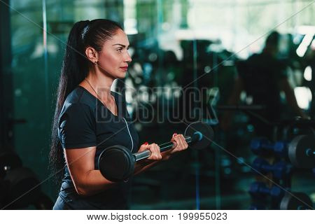 Young beautiful woman doing biceps curl with EZ curl bar in a gym. Athletic girl doing workout in a fitness center with sunset beams in the window