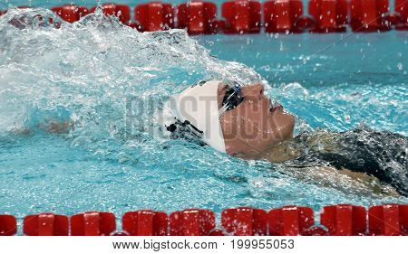 Hong Kong China - Oct 30 2016. Olympic World and European Champion swimmer Katinka HOSSZU (HUN) swimming in the Women's Individual Medley 400m Final. FINA Swimming World Cup.