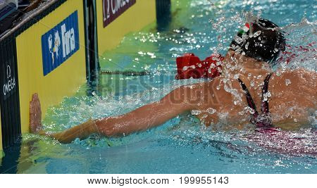 Hong Kong China - Oct 30 2016. Olympian swimmer Zsuzsanna JAKABOS (HUN) swimming in Women's Individual Medley 400m Final. FINA Swimming World Cup Finals Victoria Park Swimming Pool.