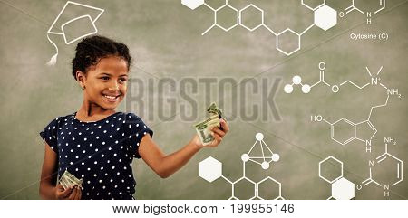 Digitally generated image of chemical structure against smiling girl looking at paper currency