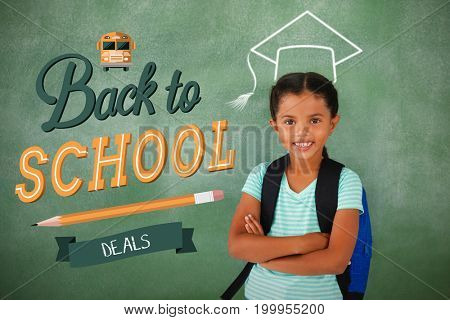 back to school against portrait of cute school girl standing with arms crossed