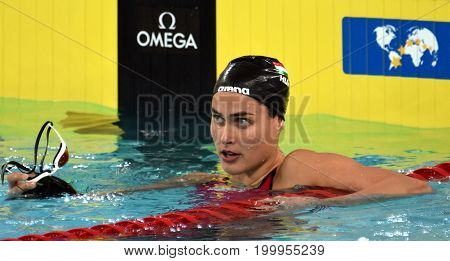 Hong Kong China - Oct 30 2016. Olympian swimmer Zsuzsanna JAKABOS (HUN) after the Women's Individual Medley 400m Final. FINA Swimming World Cup Finals Victoria Park Swimming Pool.