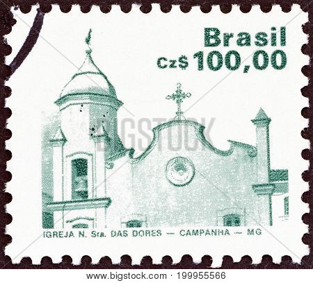 BRAZIL - CIRCA 1986: A stamp printed in Brazil shows Church of Our Lady of Sorrows, Campanha, circa 1986.