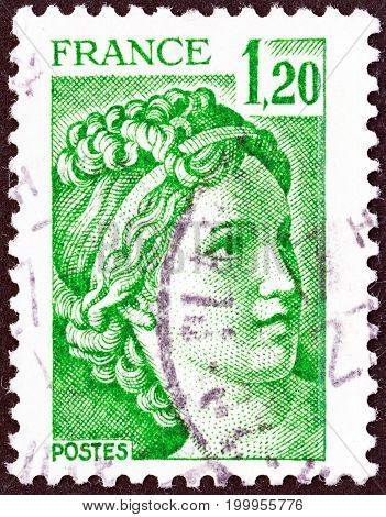 FRANCE - CIRCA 1977: A stamp printed in France shows Sabine from the