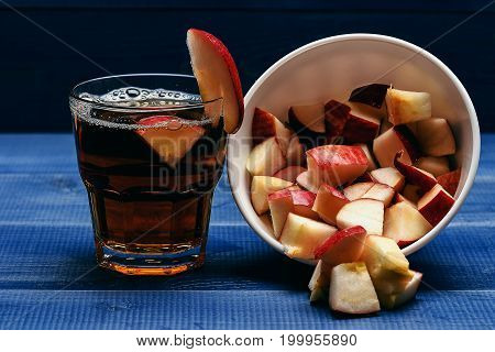 Glass With Juice And Dish With Pieces Of Apple