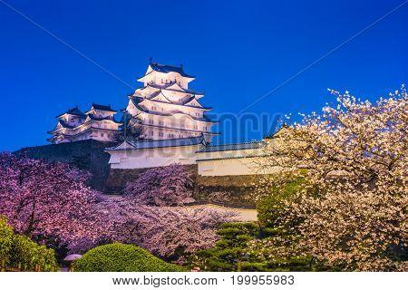 Himeji, Japan at Himeji castle in spring.