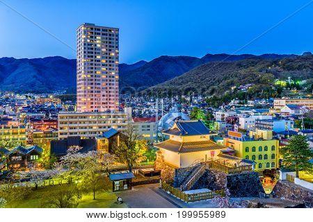 Kofu, Yamanashi, Japan downtown cityscape and tower.