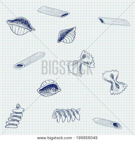 Pasta. Hand drawn sketch on notebook sheet background. Vector illustration