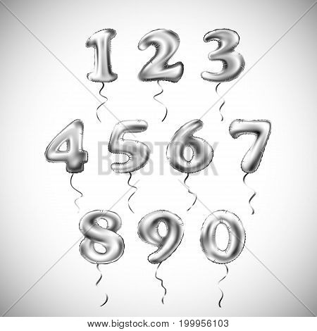 Vector Silver Number Metallic Balloon. Party Decoration Golden Balloons. Anniversary Sign For Happy