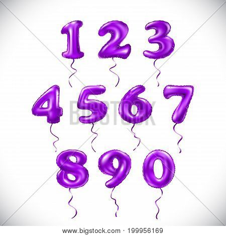 Vector Pink Purple Number 1, 2, 3, 4, 5, 6, 7, 8, 9, 0 Metallic Balloon. Violet Party Decoration Gol