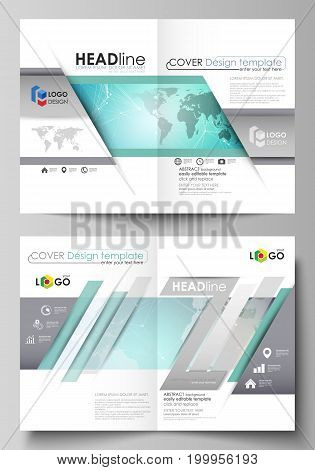 The vector illustration of the editable layout of two A4 format modern cover mockups design templates for brochure, flyer, report. Molecule structure, connecting lines and dots. Technology concept