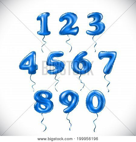 Vector Blue Number 1, 2, 3, 4, 5, 6, 7, 8, 9, 0 Metallic Balloon. Party Decoration Golden Balloons.