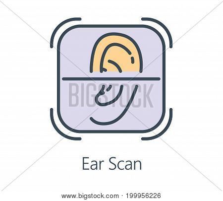 Icon design ear scan in flat line style. Symbol about health check up and medical concept.