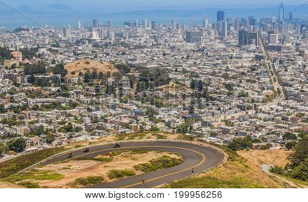 San Francisco downtown view from Twin Peaks