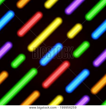Neon bright seamless pattern. Realistic vector neon diagonal lines on a black background