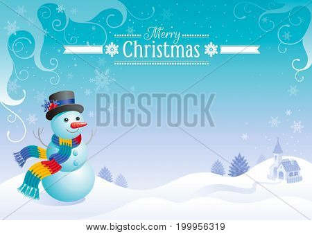 Merry Christmas and Happy New year flayer frame. Cute cartoon snowman in hat and scarf, Santa Claus reindeer sleigh silhouette. Holiday vector illustration, winter scene landscape, cold sunny weather,