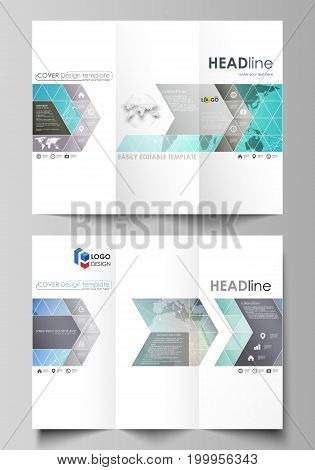 The minimalistic abstract vector illustration of the editable layout of two creative tri-fold brochure covers design business templates. Molecule structure, connecting lines and dots. Technology concept.