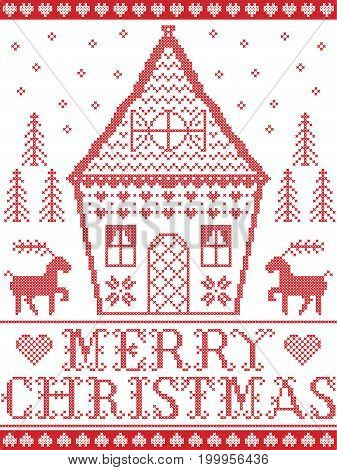 Nordic style and inspired by Scandinavian  Christmas pattern illustration in cross stitch in red and white including  gingerbread house, Christmas tree, star, snowflake,heart, reindeer