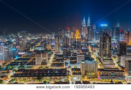 Beautiful cityscape of night scene sky at Kuala Lumpur city skyline Malaysia