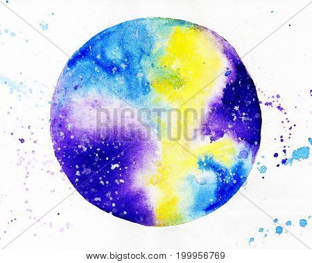Watercolor round colored space on white background