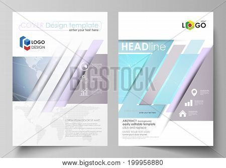 The vector illustration of the editable layout of two A4 format modern covers design templates for brochure, magazine, flyer, report. Polygonal texture. Global connections, futuristic geometric concept.