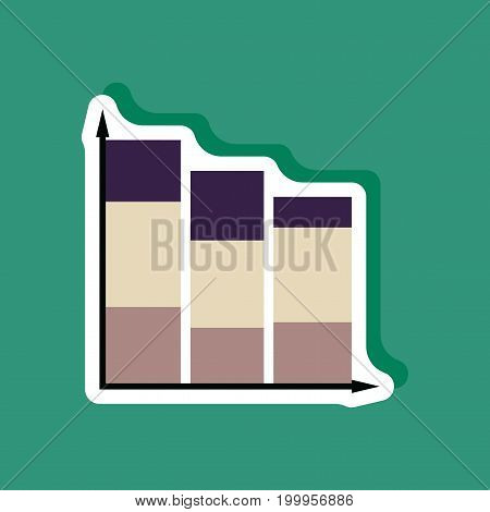 paper sticker on stylish background Economic chart